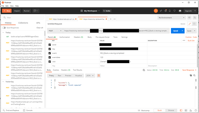 event tracking in Postman